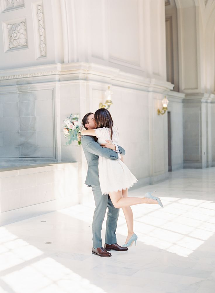 Beautiful City Hall elopement: Photography : The Great Romance Photo Read More on SMP: http://www.stylemepretty.com/california-weddings/san-francisco/2016/10/07/intimate-city-hall-elopement-san-francisco/