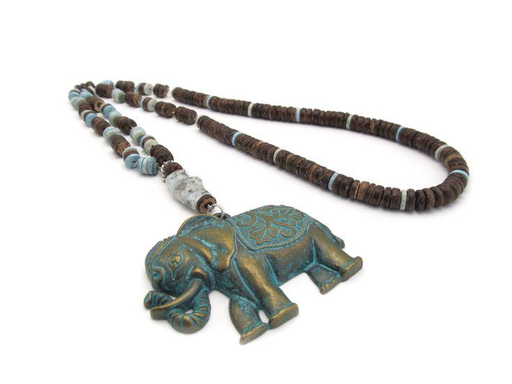 Handgemaakte ketting Elephant Yoga sieraden # natuurlijke sieraden# kettingen#