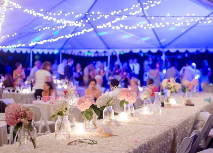 Backyard wedding. Tent reception. Ivory rosette table cloth. Photo by Eleventh Hour Photography