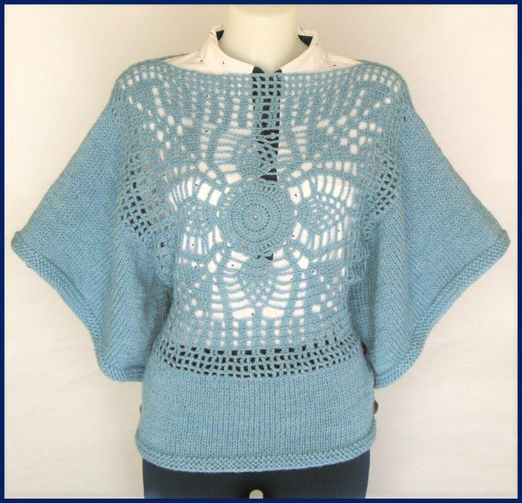 Poncho Lã Com Painel Em Crochet para mulher - 65% lã, 35% alpaca