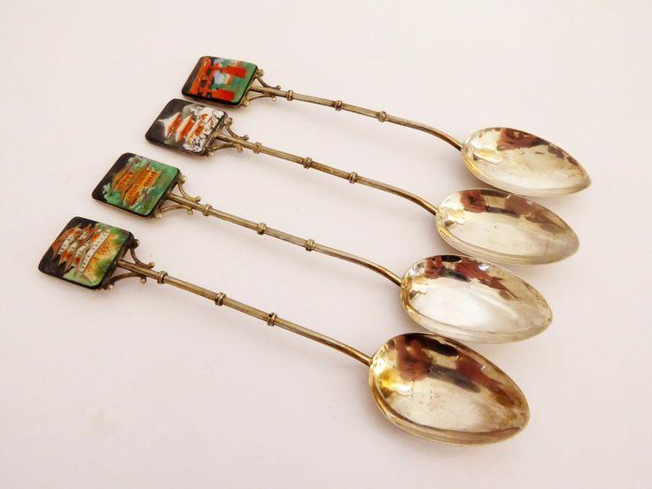 Set of 4 TOSHIKANE Japan Sterling & Porcelain spoons