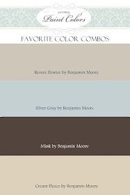Paint colors--Benjamin Moore Revere Pewter is about to go in my livingroom! :)