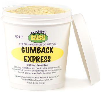 Gumback ExpressBody Scrubs, Lushusacom Online, Ground Almond, Lush Gumback Express, Bananas Smoothie, Shower Smoothie, Lush Cosmetics, Express Shower, Beautiful Products