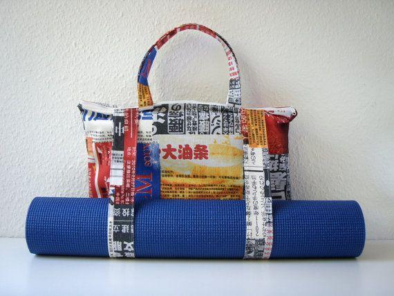 OOAK Yoga Mat Bag Chinese Newspaper Handmade Babimini by Babimini