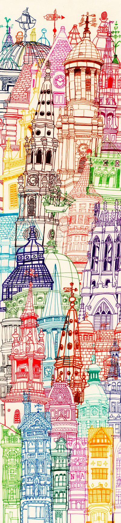London Towers Art Print - This as some sort of scene from above-the amazing things you see when you leave somewhere sucky OR as the crowding dark things to escape from