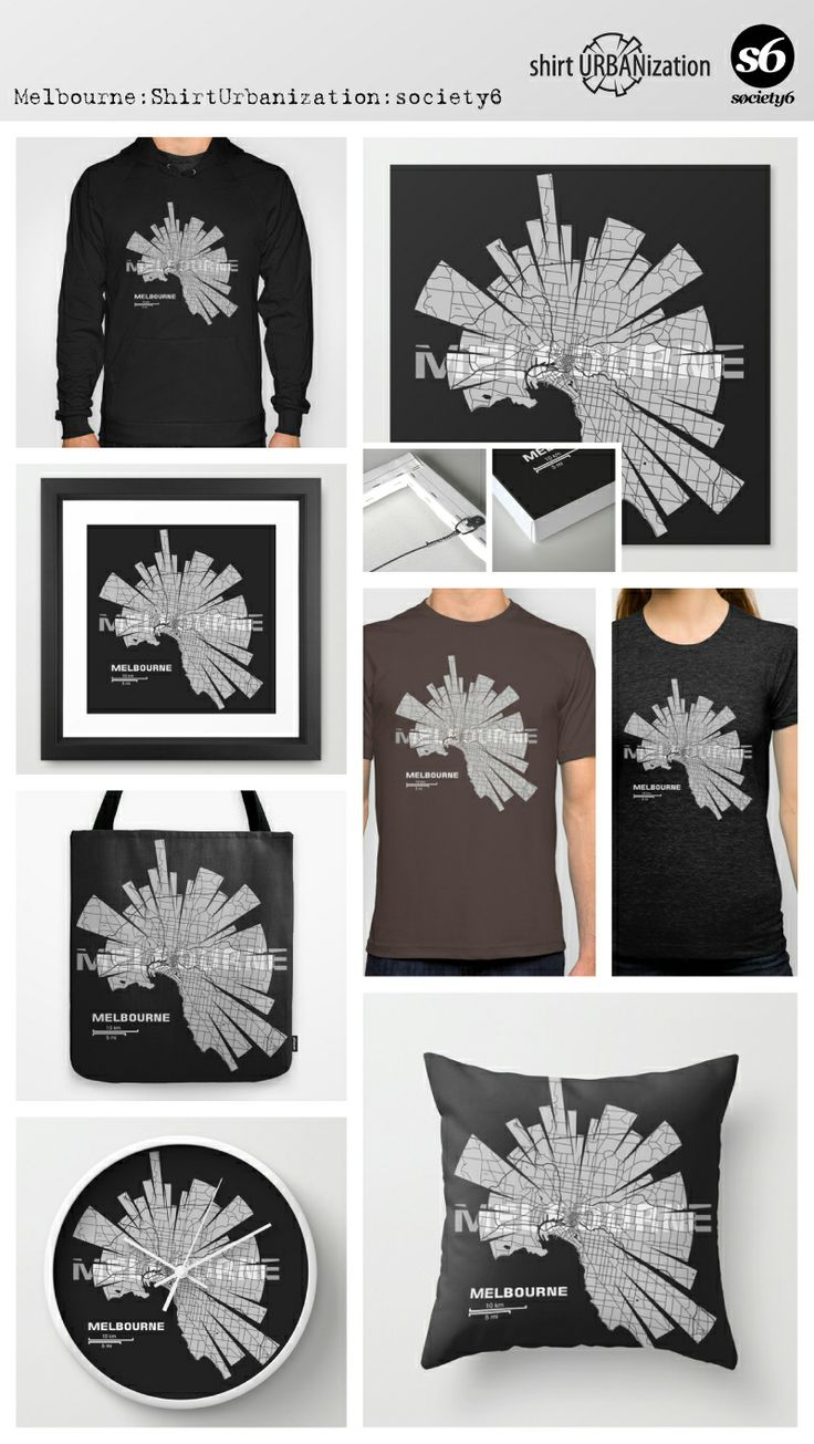 Stylistic city map of Melbourne in black and white on dark background. Available at Society6 on a variety of products. http://society6.com/ShirtUrbanization/Melbourne-Map-EL0_Print