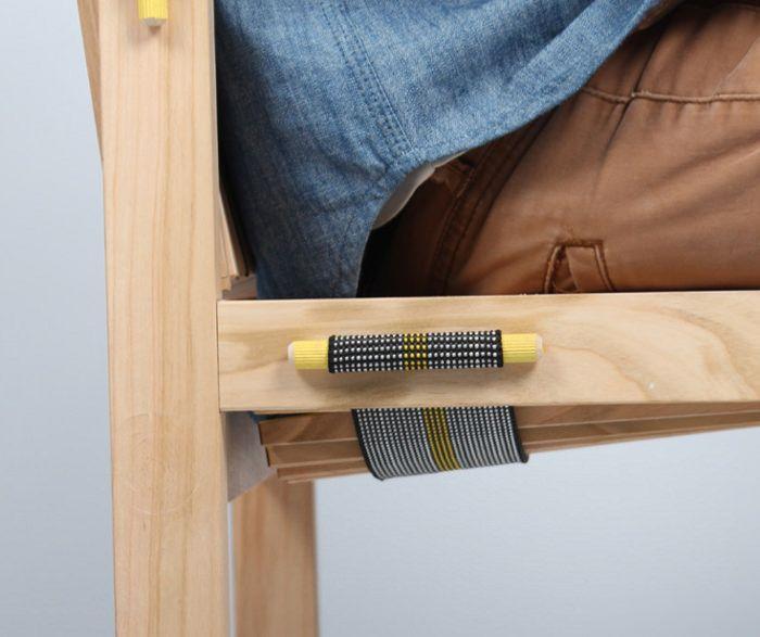 Chaise LENO bois et textile avec sangle