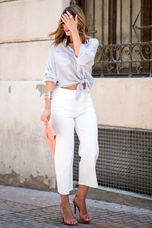 Le Fashion Blog Date Style Wavy Hair Blue And White Striped Tie Front Button Down Shirt Silver Bangle Bracelet White Culottes Salmon Pink Clutch Ankle Strap High Heeled Sandals Via Ms Treinta
