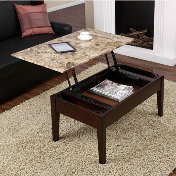 Table basse relevable pour le salon fonctionnel