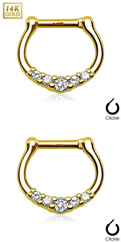 Body Piercing Jewelry 32050: 1 Pc 16G 14K Solid Gold 5 Clear Cz Gems Paved Septum Clicker Nose Ring Piercing BUY IT NOW ONLY: $79.99