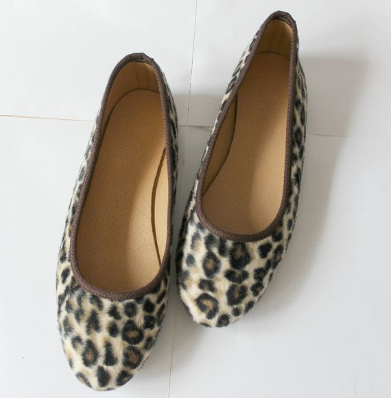 LEOPARD BALLET FLATSLeather ballet flats by EATHINI on Etsy