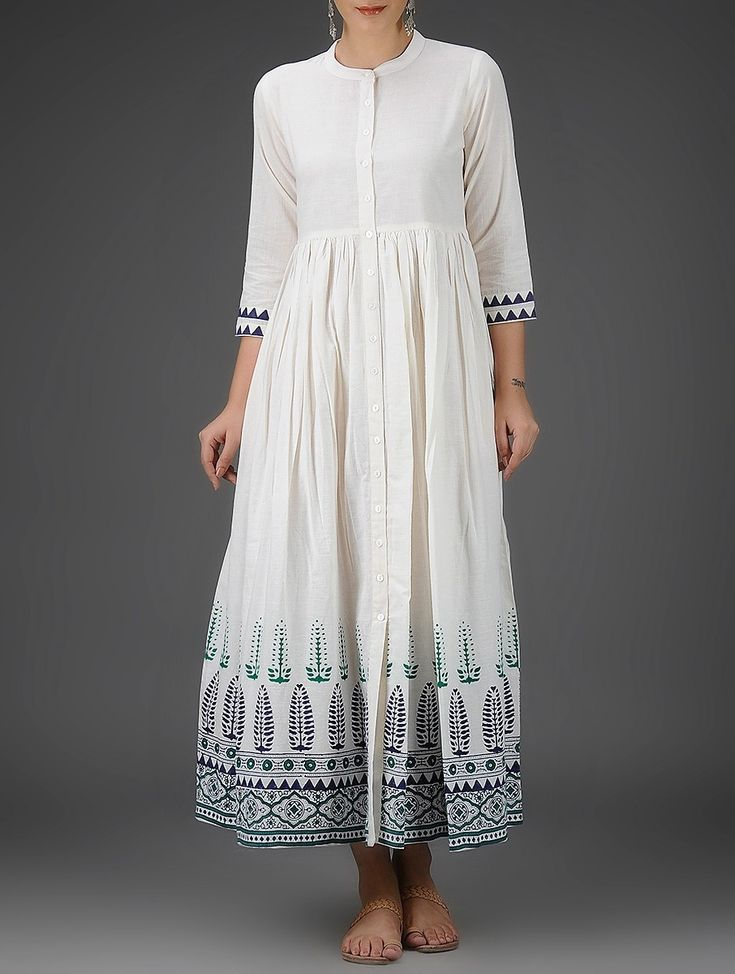 Buy Ivory Blue Green Block Printed Button Down Cotton Dress with Gathers Women Dresses Online at Jaypore.com