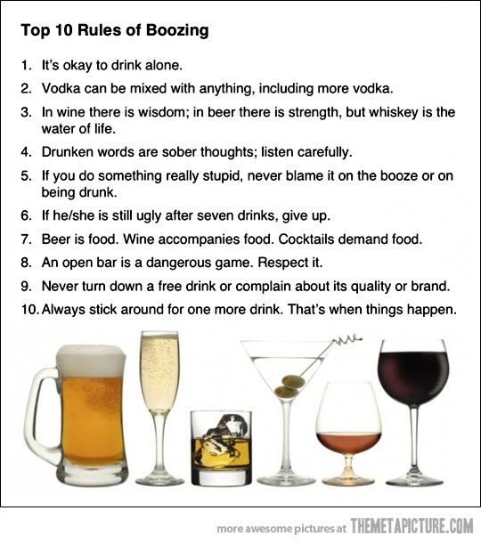 Top ten rules of alcohol: Drinks Rules, Tops 10, Quote, Booze, Funny, Funnies, 10 Rules, 10Rules, The Rules