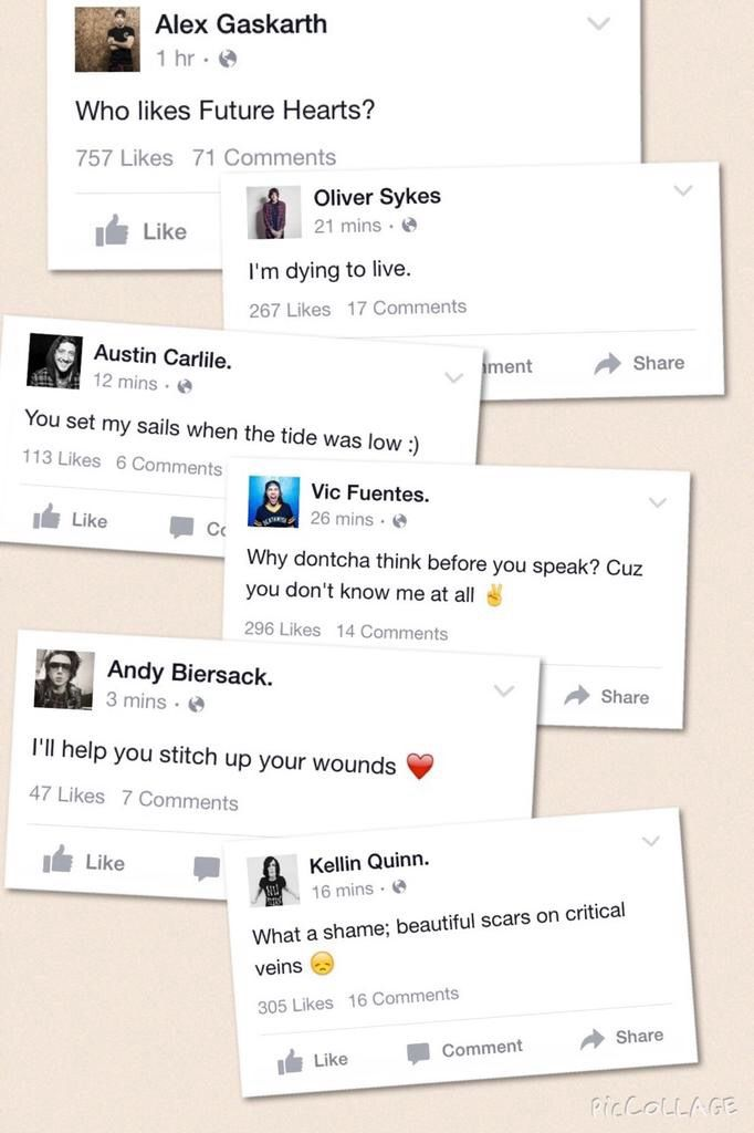 Alex Gaskarth, Oli Sykes, Austin Carlile, Vic Fuentes, Andy Biersack, Kellin Quinn. This makes me smile