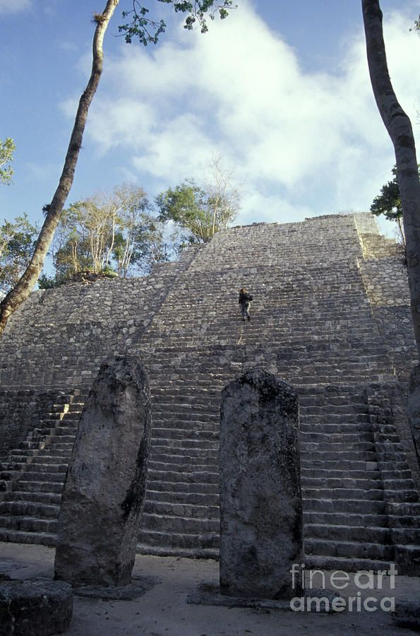 ✮ Person climbing Structure VII at the Mayan ruins of Calakmul, Campeche, Mexico. Calakmul is located in the 7,231.85 square km Calakmul Biosphere Reserve, which was established in 1989. Calakmul was made a UNESCO World Heritage Site in 2002