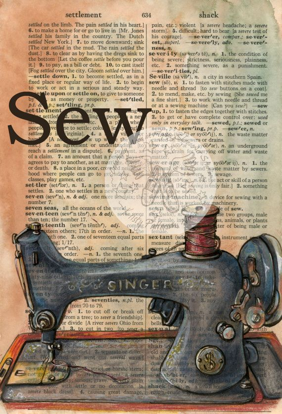 PRINT  Vintage Sewing Machine Mixed Media Drawing by flyingshoes - fun decor for a sewing room.  #vintagesewing