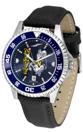 Navy Midshipmen Competitor AnoChrome Men's Watch with Nylon/Leather Band and Colored Bezel