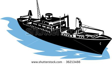 Freighter aerial view  #freighter #retro #illustration