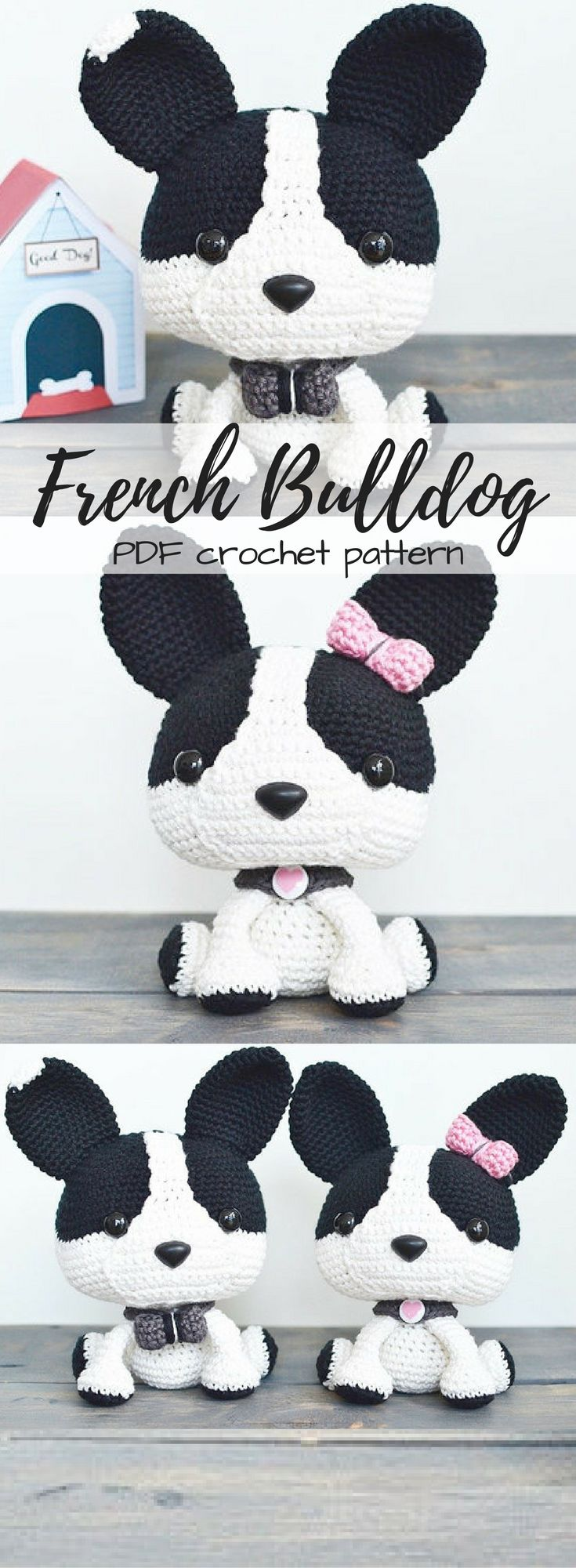 Finn the French Bulldog pdf crochet amigurumi stuffed animal dog pattern. Love this sweet little puppy to DIY with this easy to follow crochet pattern! #etsy #ad