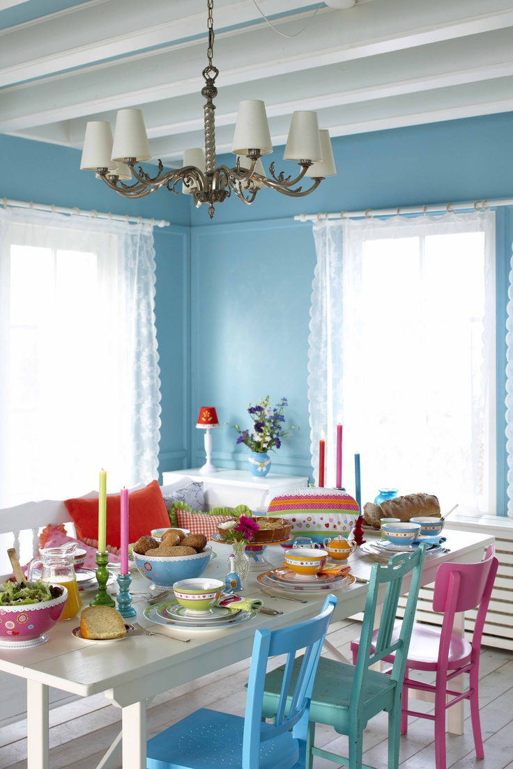 Different colored dining chairs - Like The Blue Of The Walls And The Different Colours Of The Chairs Colorful Dining
