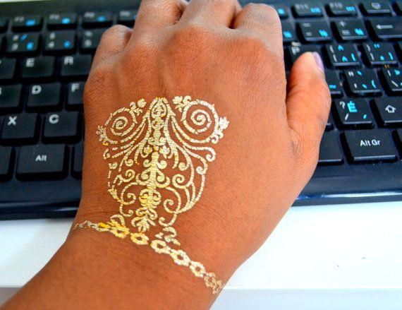 Metallic Tattoo Gold Tattoo Jewelry temporary Tattoo by LeoToro