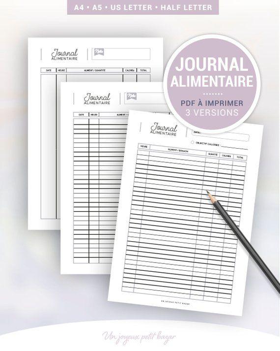 Journal Alimentaire A Imprimer Pour Le Suivi Journalier Des Repas Et Calories 3 Modeles De Page Pour Planner A5 Et A4 Journal Organization Bullet Journal Organisation