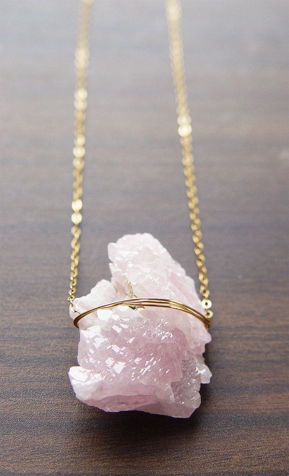 Rose Quartz Crystal Necklace  14k  OOAK by friedasophie on Etsy, $65.00