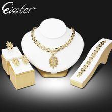Eisster Schmuck Dubaj zlatá barva Turkish šperky Soupravy Ženy Crystal Leaves náhrdelník Set Africké korálky svatební Klenoty Sady (Čína (pevninská část))