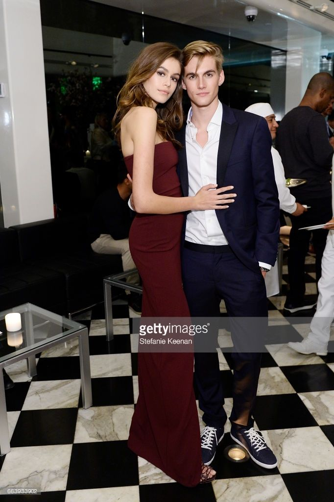 Kaia Jordan Gerber and Presley Walker Gerber attend The Daily Front Row and REVOLVE FLA after party at Mr. Chow hosted by Mert Alas on April 2, 2017 in Los Angeles, California.