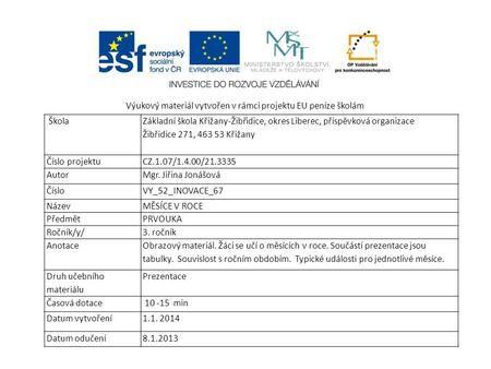 Výukový materiál vytvořen v rámci projektu EU peníze školám Škola Základní škola Křižany-Žibřidice, okres Liberec, příspěvková organizace Žibřidice 271,