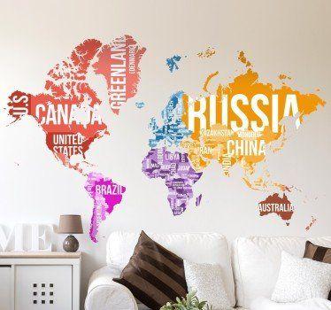 Vinilo mapamundi nombres y fronteras