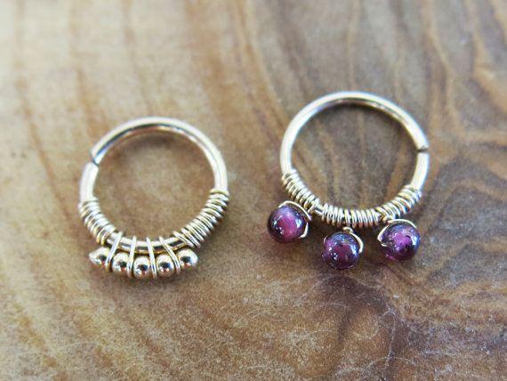 Handmade Garnet Cartilage hoop Tragus ring 14k by AvitalKatzArt