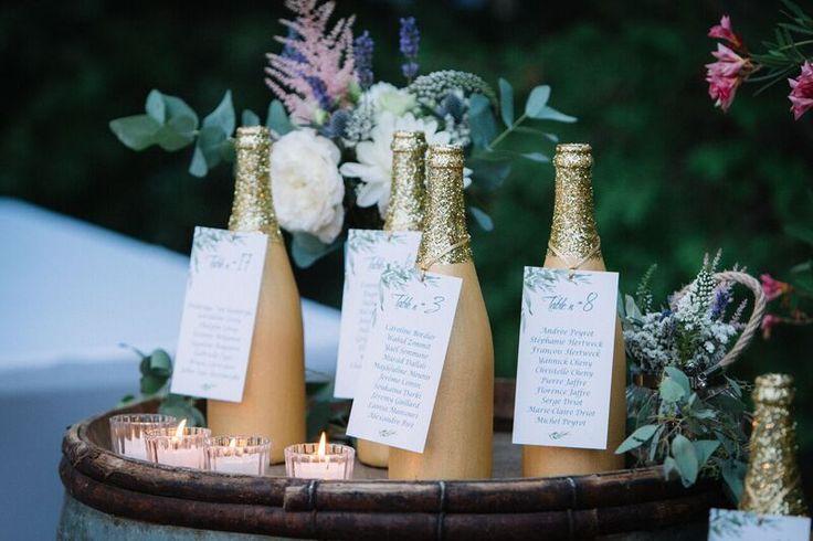 Table plan gold sparkling bottles Plan de table boute