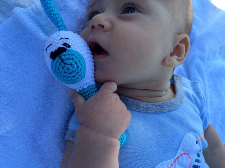 Crochet Baby Rattle - Dog