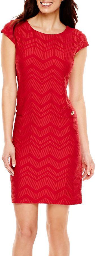 LIZ CLAIBORNE Liz Claiborne Cap-Sleeve Textured Shift Dress
