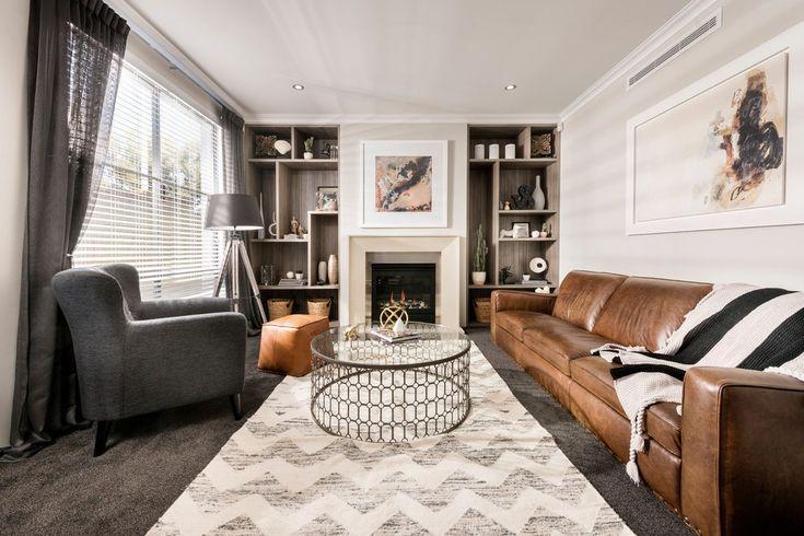 Italian Leather Sofa Living Room Modern with Dark Wood Floor Lined Curtain Panel Pairs