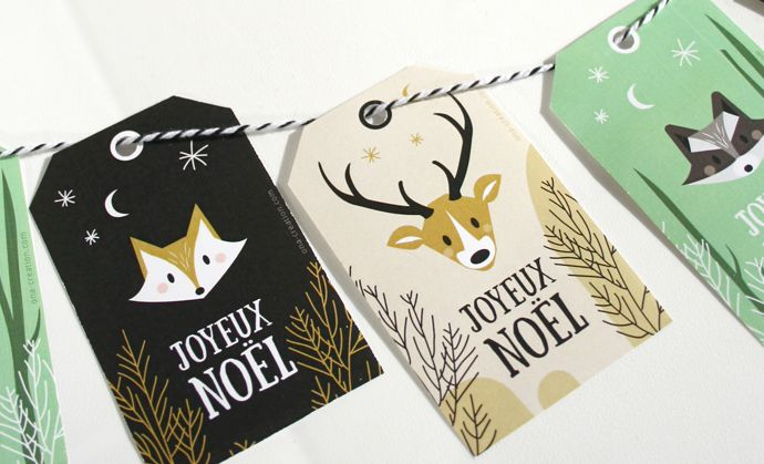 Woodland Animals christmas tags printables DIY