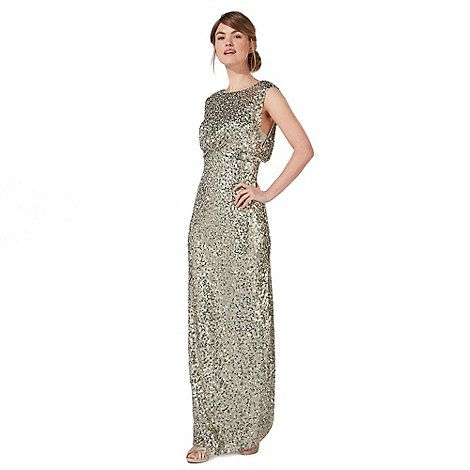 This exquisite gown from our exclusive No. 1 by Jenny Packham range is the ultimate evening choice. Cascading effortlessly to a maxi length, this piece is embellished with shimmering light green sequins for a touch of radiant femininity. Creating a subtle layered effect at the waist, it is perfect for wearing with a pair of simple heels.