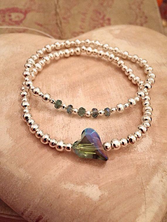 2 Piece Silver Plated Crystal Glass Heart by Alwaysbethemermaid