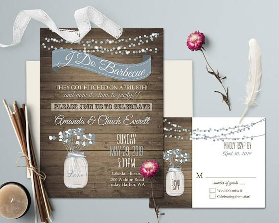 I DO BBQ Wedding Invitation Printable Template Dusty Blue Mason Jar Rustic Engagement I do Bbq party Reception Only Country Western Digital