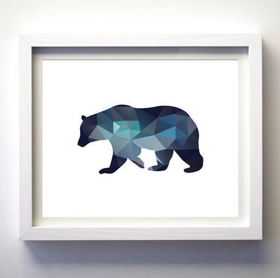Teal Navy Blue Aqua Blue Wall Art Bear Print Minimalist Geometry Wall Art Decor Geometric Animals Bear Boys Nursery Art Printable Bear