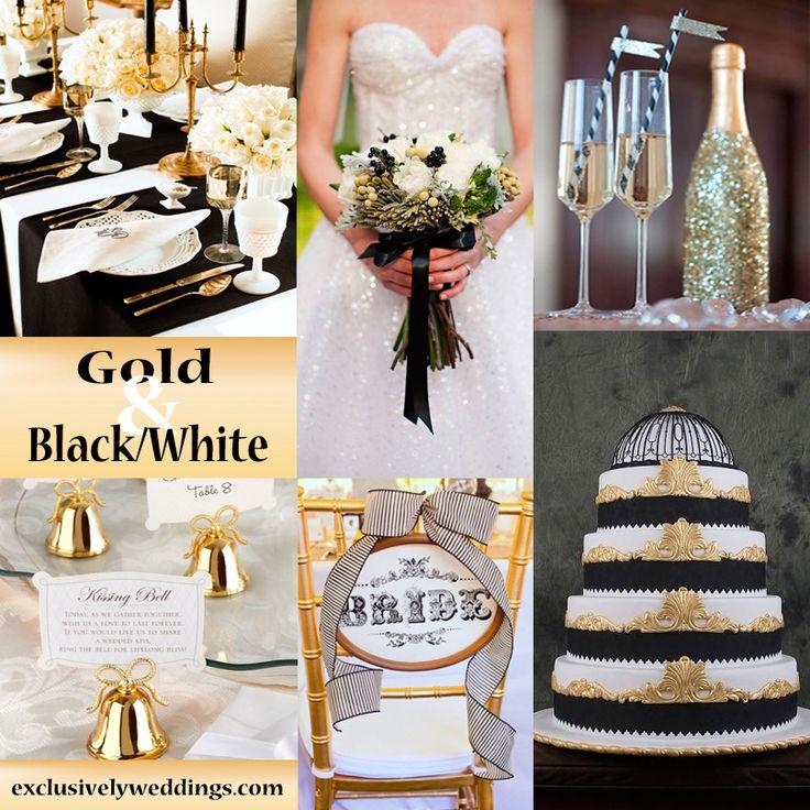 Black White And Gold Wedding