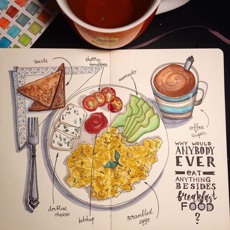 Я пока еще держусь и рисую каждый день сегодня начала новый блокнот #moleskine спасибо огромное @horoshaja и @pre100 за такой замечательный подарокВот вам еще одна вещь которую я люблю, завтраки!!!☕️Мой самый любимый прием пищи, готова завтракать и три раза в день #art #drawing #moleskineart #liner #fabercastell #marker #markers #finecolour #copic #illustration #breakfast #coffee #morning #thingsilove #everyday #everydaysketch #sketcheveryday #food #foodsketch