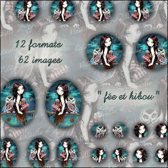 """planche d'images digitales à imprimer : thème """"fée et hibou"""" : Images digitales pour bijoux par patouille-et-gribouille"""