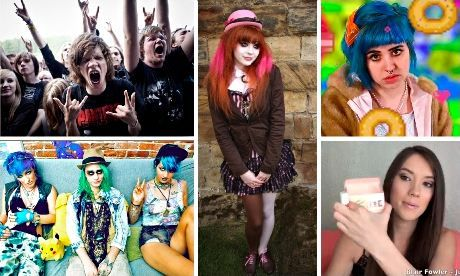 The youth of today: clockwise, metallers, goth, Molly Soda, haul girl and seapunks. Photograph: Rex/Christopher Furlong/Public Domain