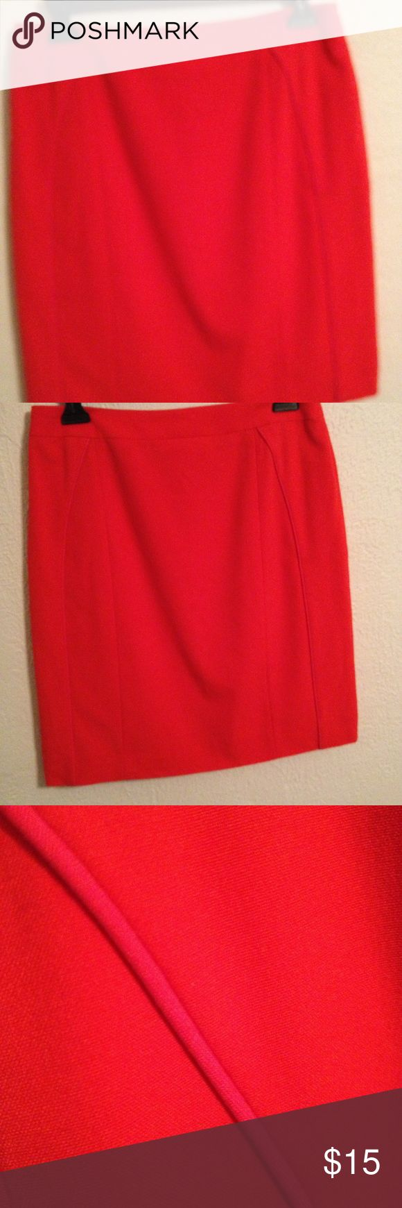 Hot red pencil skirt Red pencil skirt with hot pink piping, fully lined. Gianni Bini Skirts Pencil
