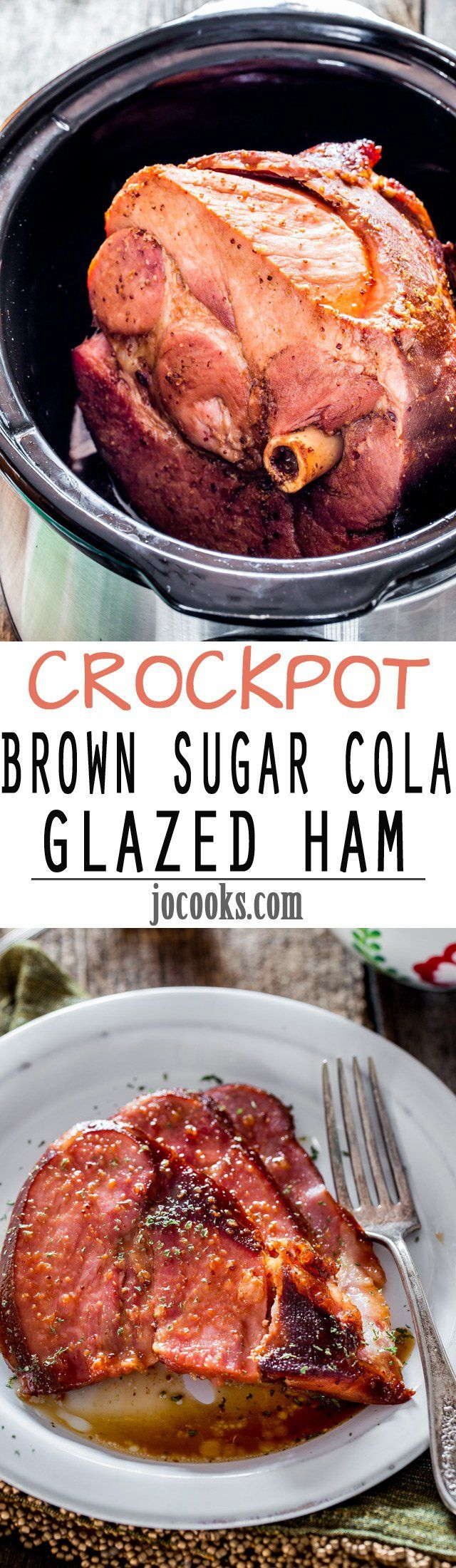 Crockpot Brown Sugar Cola Glazed Ham - 5 minutes of prep time is all you need to make this incredible brown sugar and cola glaze then pour it over the ham, set it and forget it for a few hours. When it's done you'll be rewarded with the most tender and delicious crockpot ham ever.
