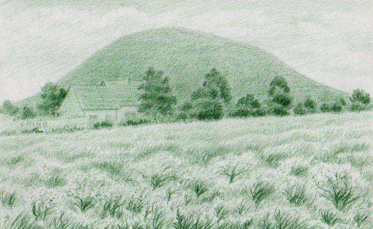 Hora Říp od Ctiněvsi, kresba Jana Haasová