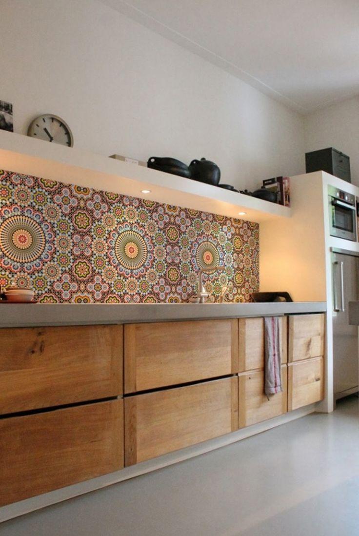 Moroccan style tile backsplash