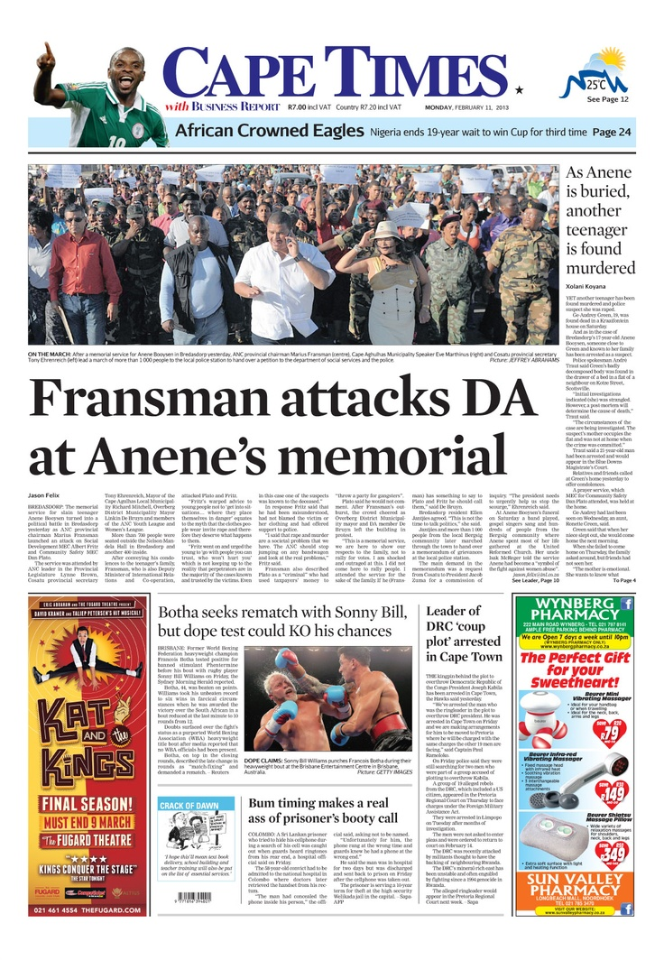 News making headlines: Fransman attacks DA at Anene's memorial